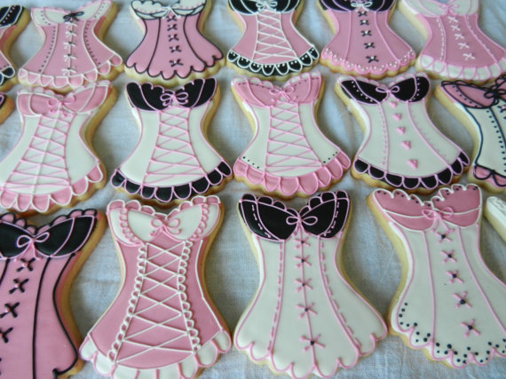 Custom Decorated Corset Cookie for Bridal Showers, Lingerie or Bachelorette Parties (#2345) by 3CSC