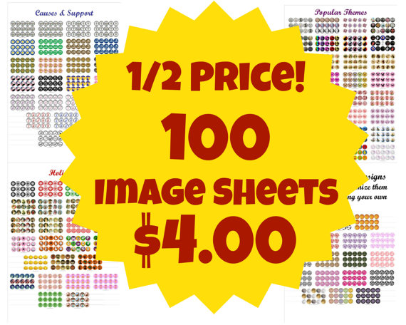 1/2 Price 100 Digital Bottle Cap Image Sheets – horses, scouts, autism, cats, Christmas, and more by IKJewelryParty
