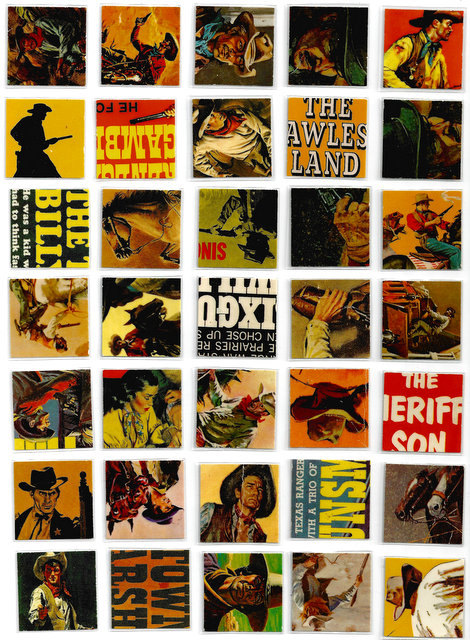 Pop Art Tiles vintage Western Cowboy Magnet Set 36 pieces in Tin Gift Box ephemera OOAK collage by Vividiom