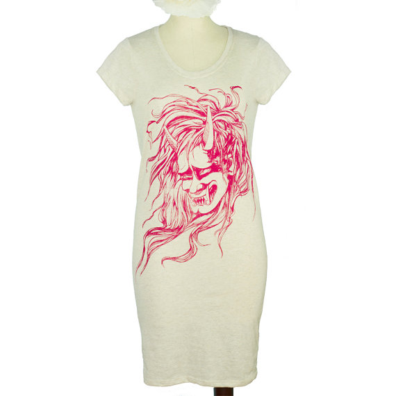 Eco Stone Japanese Oni Demon Head, Monster Screen Printed Lakeside T-Shirt Dress, Folklore – Sizes SM by yayforfidgetart