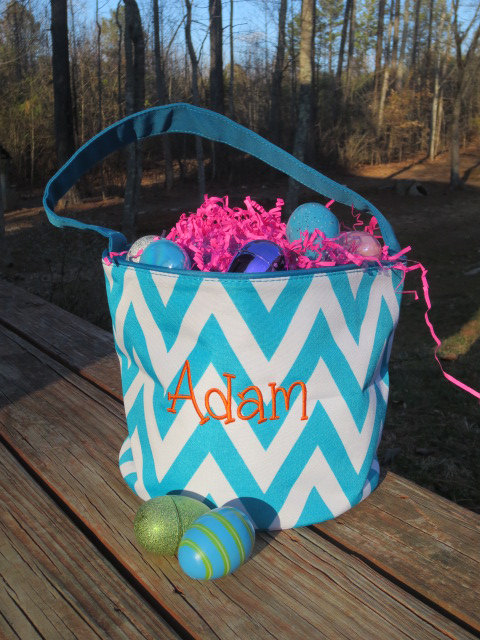 TURQUOISE Chevron Easter Bucket with FREE personalization. Monogrammed Easter Basket. by doodlegirls