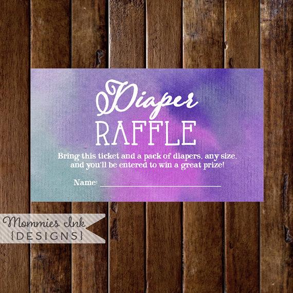 Purple and Teal Watercolor Diaper Raffle Ticket, Watercolor Diaper Raffle, Printable Raffle Ticket, Baby Shower Raffle, Shower Printable by MommiesInk