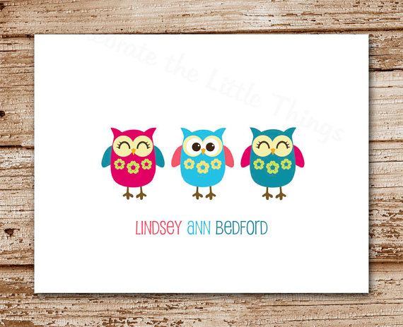Set of 8 Owl Note Cards – Owl Trio Notecards – Personalized Stationery – Birds – Folded Cards – Thank You Cards by CelebrateLilThings