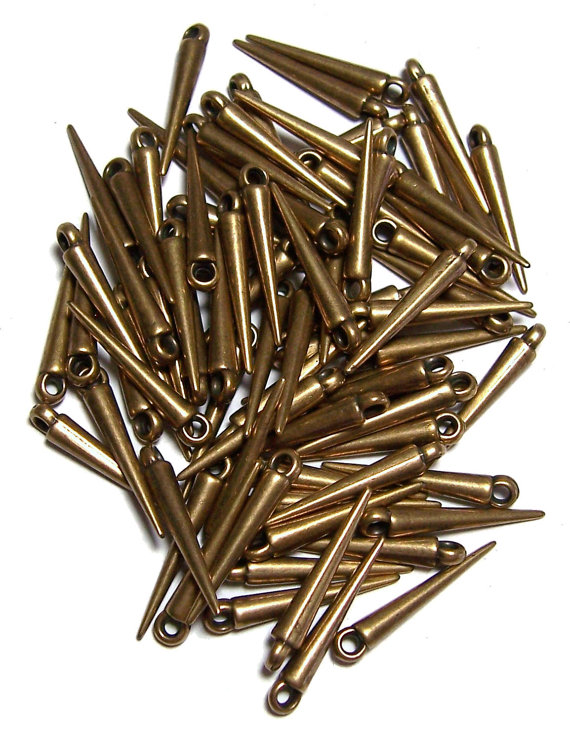 Mini Spike beads Antique Gold colored spikes 50 by pedazos