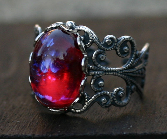 Fire Opal Ring – Mexican Dragon Breath – Adjustable by robinhoodcouture