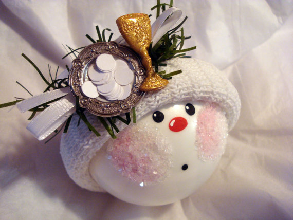 FIRST COMMUNION Gift Ornament Handpainted Handmade with Challis & Host by TownsendCustomGifts
