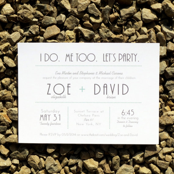 Wedding Invitations Modern Typography Wedding – Brooklyn Deposit by StelieDesigns