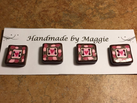 Square Polymer Clay Buttons in Pinks and Brown by MaggiesSweetNothings