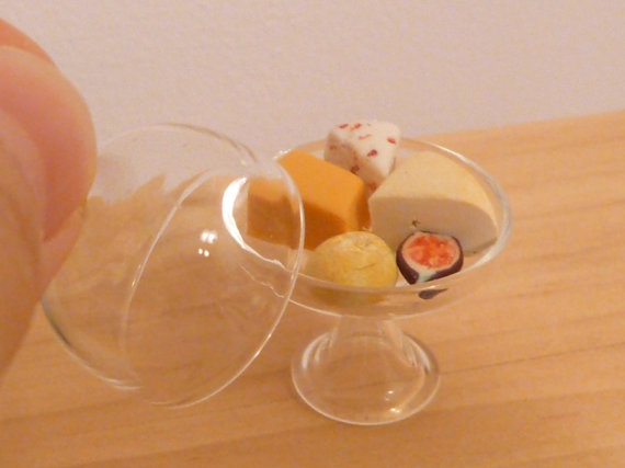 Miniature Dollhouse Cheese and Fig in a Glass Dome by MinnieKitchen