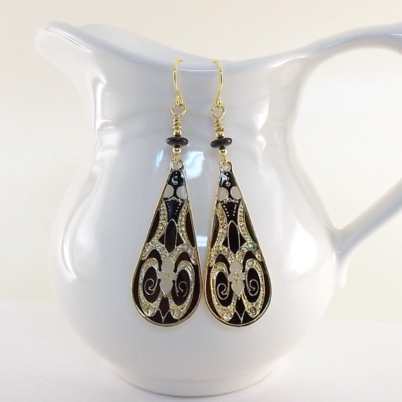 Earrings Large Black and Gold Teardrops by CinLynnBoutique