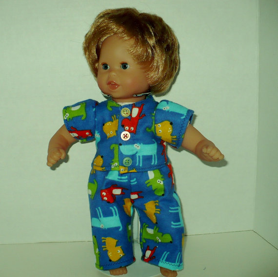 12 inch Corolle Doll Flannel Pajamas by CreationsByJudy