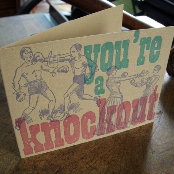 letterpress vintage boxing you're a knockout greeting card 3 colors by afavoritedesign