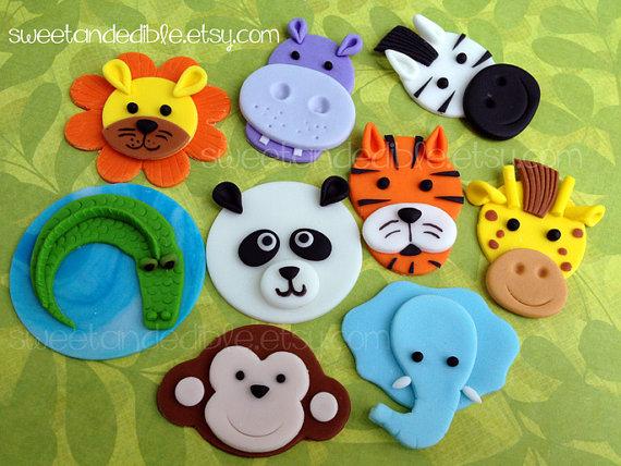 JUNGLE or SAFARI Edible Cupcake Toppers – CHOOSE any 6 by SWEETandEDIBLE