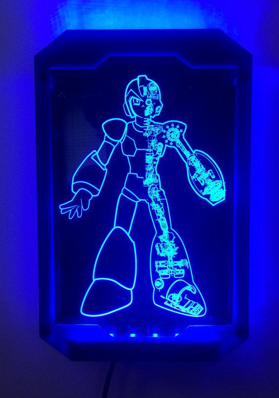 Mega Man X and Zero Schematic Light Art Set by TheDailyRobot