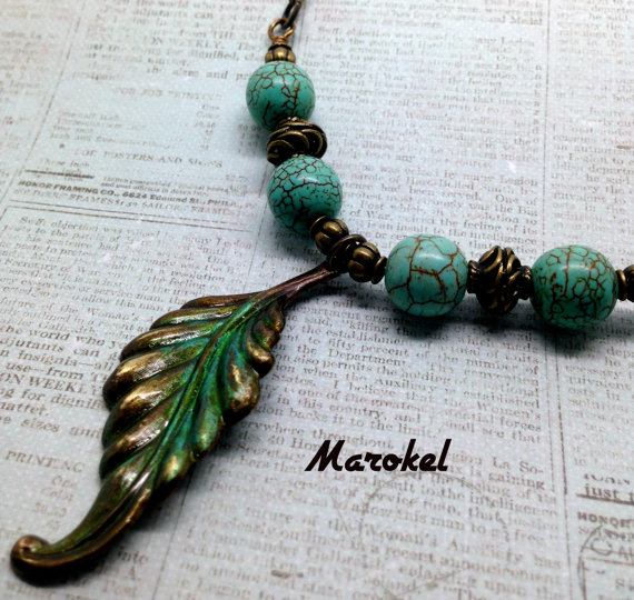 Vintaj Green Leaf Necklace Brass leaf Painted Turquoise Accents Spring Foliage Pearlized Blue Green PIgment by marokel