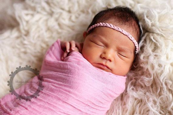 Baby Girl Wrap, HIGH Grade 50, Pink Cheesecloth Wrap, Newborn Girl Photography Prop, Newborn WRAP, Newborn Photo Prop, Pale Pink Baby Wrap by SnassyCrafter