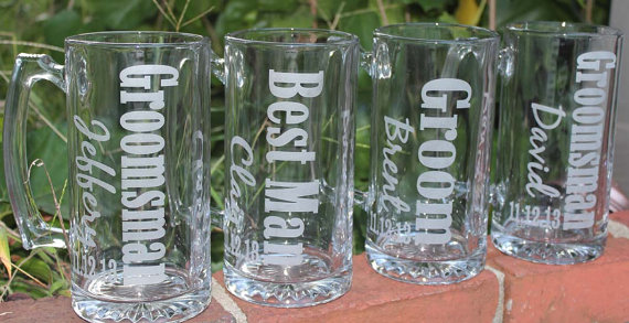 1 Personalized Groomsman Gift, Etched Beer Mug. Great Bachelor Party Idea, Groomsmen, Best Man, Father of Bride or Groom Gift by alishasdesigns