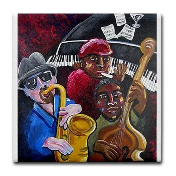 Funky Jazz Trio Musicians Whimsical Colorful Folk Art Ceramic Tile by reniebritenbucher