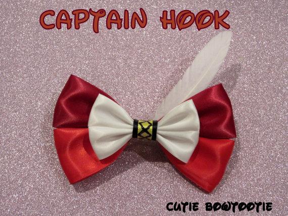 Captain Hook Hair Bow Peter Pan Disney Inspired by bulldogsenior08