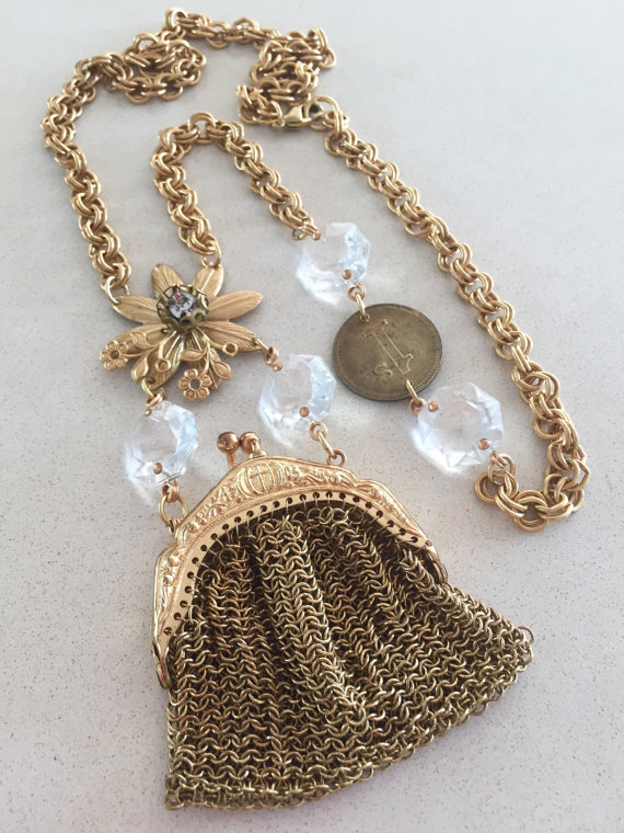 Vintage Charm Necklace, Steampunk, Coin Purse, Vanity – Miss Money Bags by rebecca3030