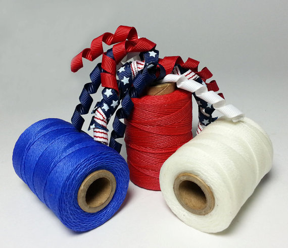 Waxed Threads 3 Spool SPECIAL – Red White & Blue by artgalstudio