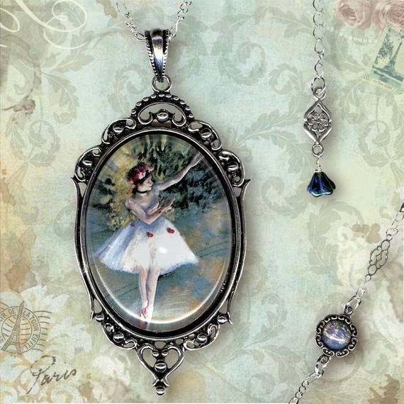 Dancer Necklace – Glass Frame – Vintage Paris Fashion – Art Masters Collection – La Danseuse Deux by tzaddishop