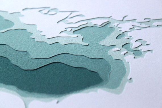 Lake Ontario – original 8 x 10 papercut art by Crafterall