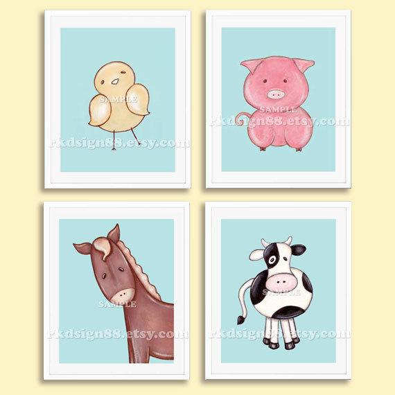 Baby boy nursery art print, whimsical nursery decor, baby art print, children decor, chick pig cow horse Set, 4 prints by rkdsign88