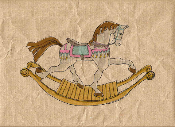 carousel rocking horse-Original Illustrate Drawing A4 Print transfer on Pillows, t-shirts, scrapbook, lampshades ETC.v by SooArt