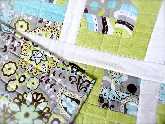 SALE – Baby Quilt – Modern Turquoise, Green and Grey Fabrics 40 & quot; x 50 & quot; by shibadesigns