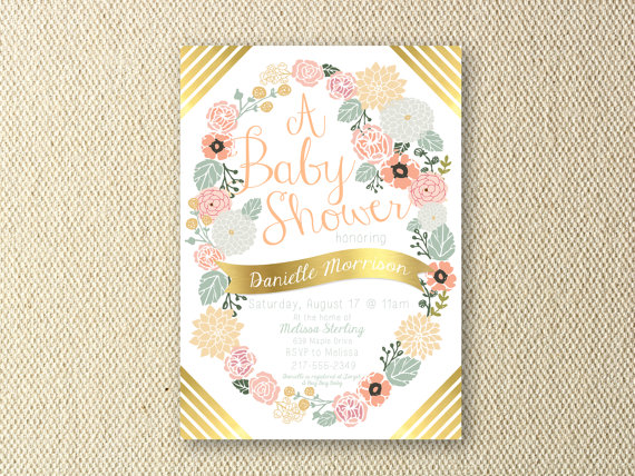 Floral Peach and Gold Baby Shower, Printable Invitation by OliveandBirch