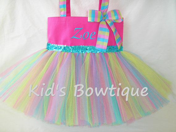 Monogrammed Tutu Tote Bag – Personalized Hot Pink Lime and Aqua Tutu Bag- Dance Tutu Tote Bag by kidsbowtique
