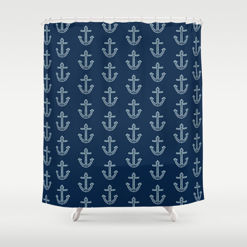 Shower Curtain: Navy Nautical Anchors Aweigh | Made in the USA | 12 Hole Fabric Bathroom Decor by BrandiFitzgerald