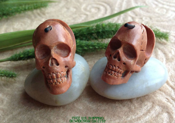 Stick Post Earrings, & quot; Ghosts of the Gobi & quot; Naturally Organic, Saba Wood, Handcrafted, Tribal by DewiDesign