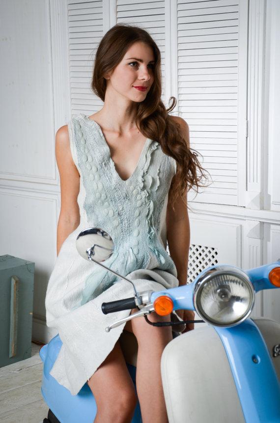 Felted dress blue dress, pale pastel blue denim autumn fall fashion, wedding bridesmaid, custom size by Baymut
