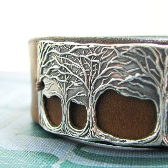 Through The Trees, Fine Silver and Leather Cuff, Openwork Tree Bracelet, Handmade, Artisan Original by SilverWishes by SilverWishes