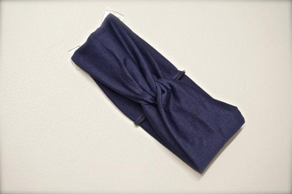 SALE – Turban Twist Headband – Navy Blue Jersey Knit by shibadesigns