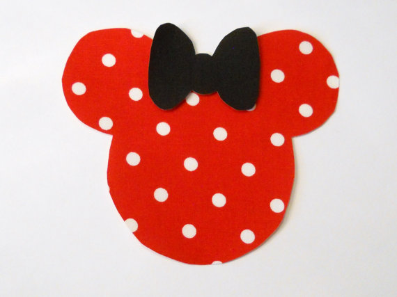 DIY – Iron On Applique MINNIE MOUSE In Red With White Dots Fabric – No Sew – Girls by WhosSewCuteDesigns