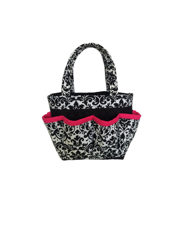 Black and White Damask Print Bingo Bag with Pink Trim // Craft Organizer // Makeup Organizer // Caddy // Teacher Tote // Nurse Tote by sewtrendyrose