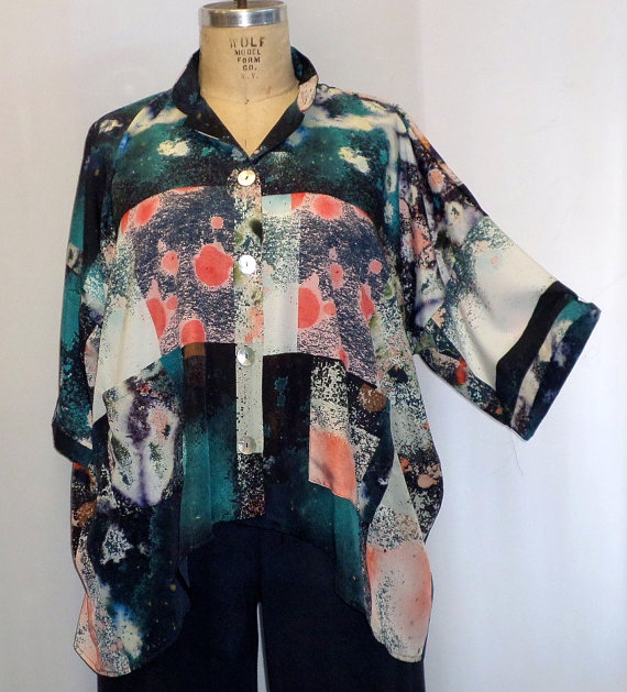 49915ae143e9c Coco and Juan Plus Size Top Lagenlook Art to Wear Galaxy Print High Low  Shirt Jacket OS 1X 2X 3X Bust to 64 inches by COCOandJUAN