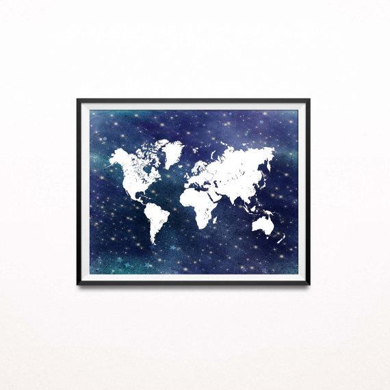 Starry Night Art Print, Nautical World Map Print, Navy and White Nursery Decor, Travel Themed Adventure Print, Wanderlust, Graduation Gift by Istriadesign
