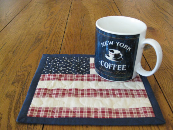 Americana Quilted Mug Rugs / Handmade Coasters by Quiltedhearts5