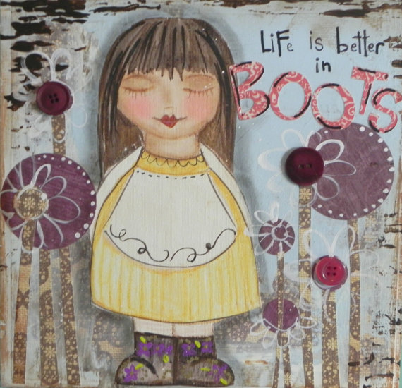 Life is better in BOOTS. 8×8 mixed media collage painting. ORIGINAL ART by Southendgirlart