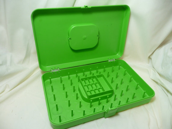 Vintage Thread Spool Storage Container Box, Lime Green by yesteryearshome