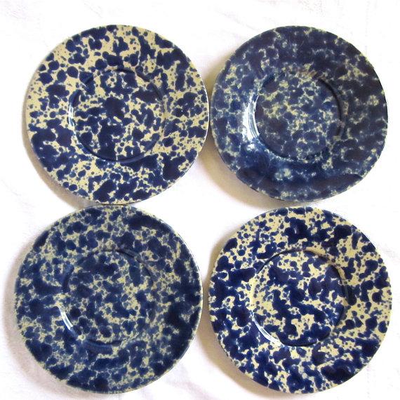 Bennington Pottery Blue Agate Vintage Pottery Saucers 1970s Vermont 1627 4 plates by vintagedottirose