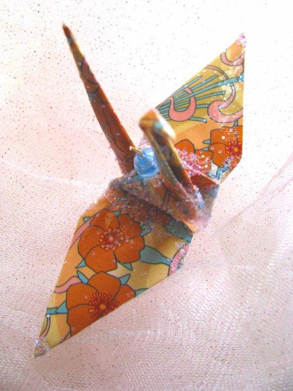 Alphonse Mucha Peace Crane Wedding Cake Topper Party Favor Origami Ornament Christmas Decoration Art Nouveau Bird Paper 1st Anniversary by localcolorist