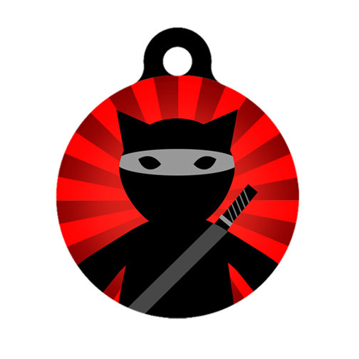 Pet ID Tag – Ninja Cat POW Pet Tag, Cat Tag, Luggage Tag, Child ID Tag by ebonypawspets