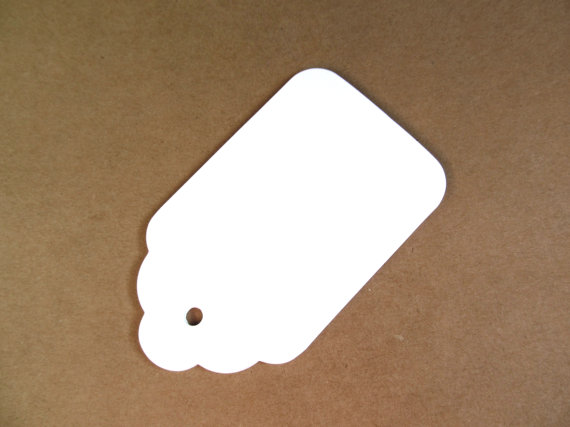 30 Large White Tags, Gift Tags, Party Favor Tags, Weddings, Showers, Scalloped by CatchSomeRaes