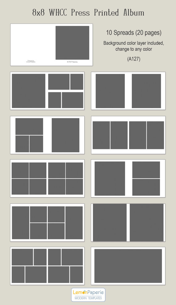 8×8 WHCC Press Printed Album Templates (a127) INSTANT DOWNLOAD by LemonPaperie