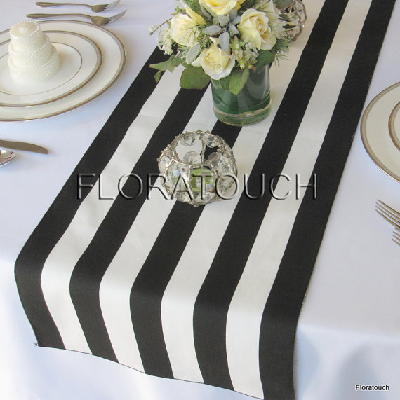 White and Black Stripe Table Runner Wedding Table Runner with black stripes on the borders – READY TO SHIP! by floratouch